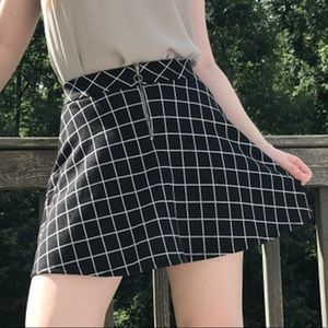 black and white checkered a-line skirt 🖤🤍